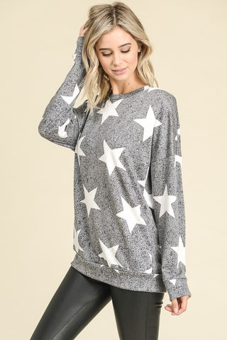 Star Print Lightweight Sweatshirt - Charcoal