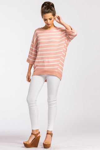 Half Sleeve Striped Spring Sweater - Mauve