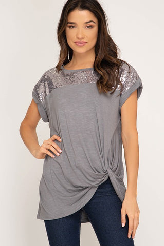 Sequined Twist Top - Grey