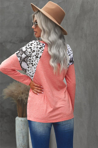 Leopard and Snakeskin Print Top - Pink