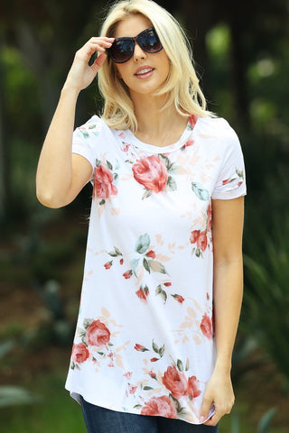 Spring Floral Tee Shirt - Ivory
