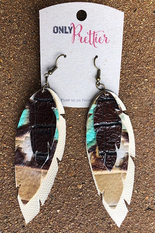 Layered Leather Animal Print Earrings - Teal