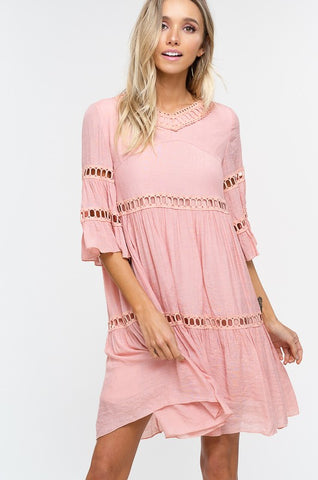 Babydoll Boho Dress - Blush