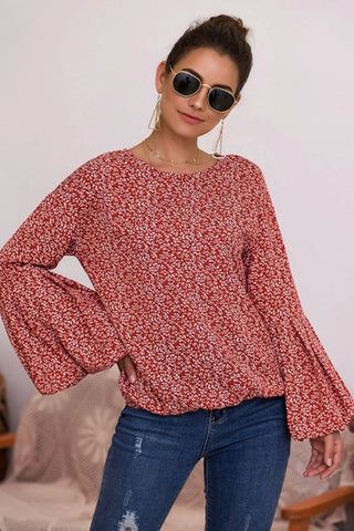 Bell Sleeve Floral Top - Red