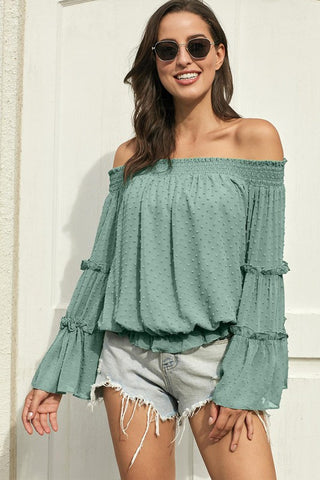 Off Shoulder Spring Top - Green