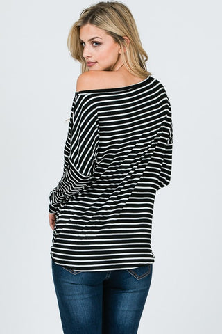 Striped Off Shoulder Twist Top - Black
