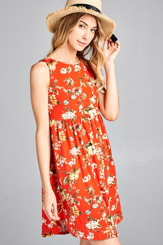 Simple Tank Style Dress - Red Floral