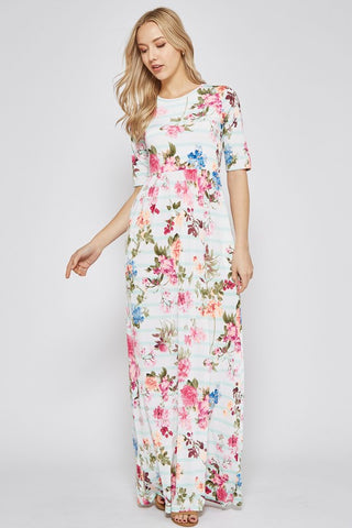 Half Sleeve Floral Striped Maxi Dress - Mint