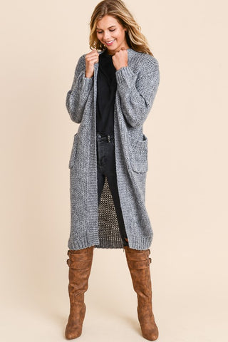 Long Sweater Knit Cardigan - Charcoal