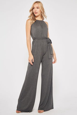 Halter Style Jumpsuit - Charcoal