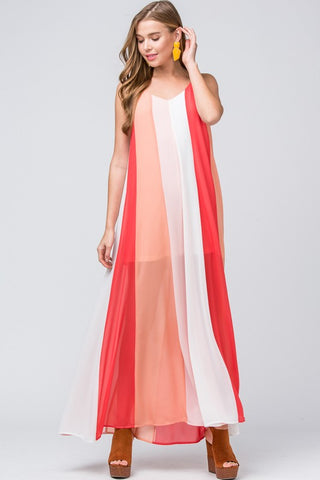 Colorful World Maxi Dress - Coral