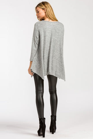 Cozy Poncho Style Top - Heather Gray