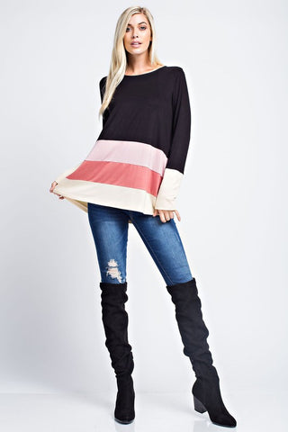 Color Block Tunic Top - Black