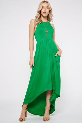 High Low Solid Dress - Green
