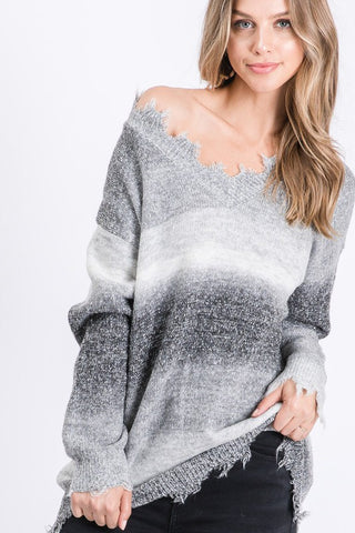 Distressed Striped Sweater - Black and Grey