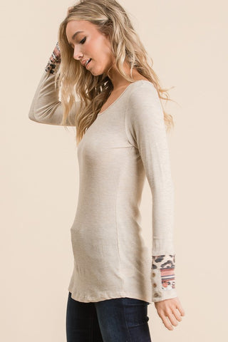 Long Sleeve Shirt with Button Cuff Detail - Oatmeal