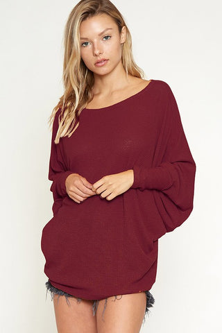 Dolman Sleeve Top - Burgundy