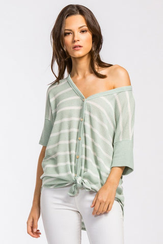 Spring is Calling Striped Top - Sage