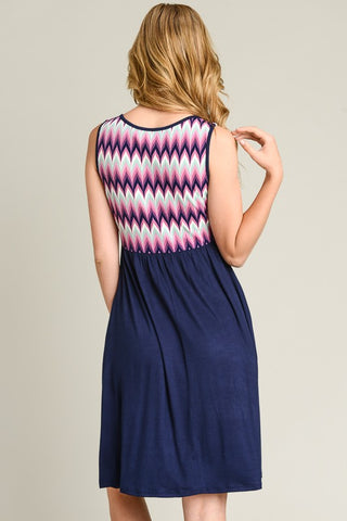 Summer Stroll  Dress - Navy
