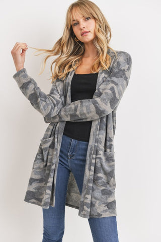 Brushed Fleece Camo Cardigan