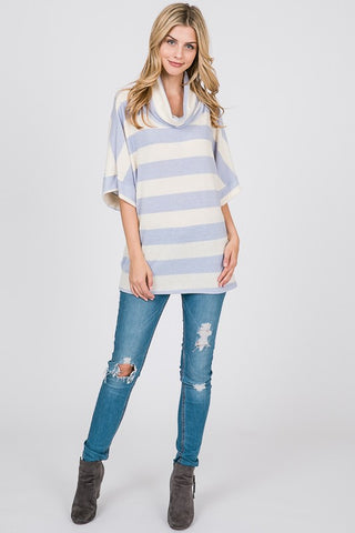 Cowl Neck Short Sleeve Top - Periwinkle