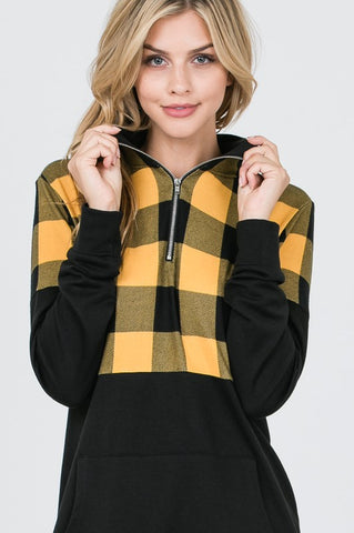 Pullover Zip Up Buffalo Plaid Top - Mustard