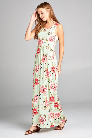 Summer Afternoon Floral Dress - Mint