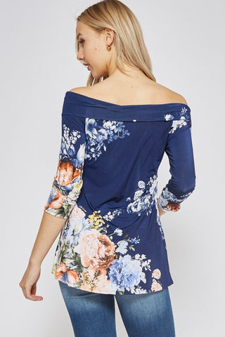 Off Shoulder Floral Top - Navy