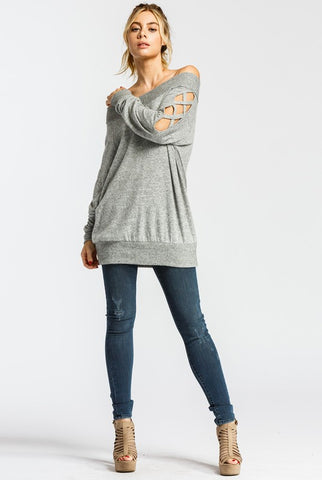 Off Shoulder Criss Cross Top - Heather Gray