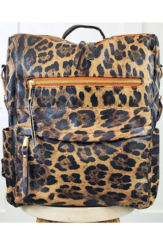 Convertible Handbag - Brown Leopard