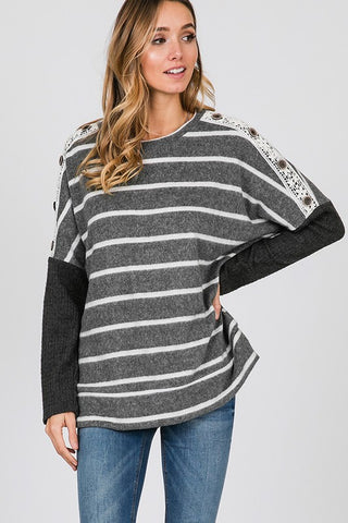 Striped Top with Lace Detail - Charcoal