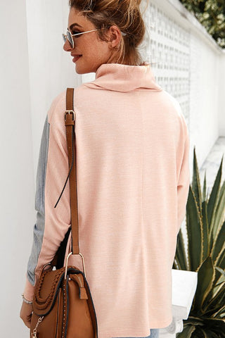 Coffee Date Color Block Cowl Neck Top - Peach