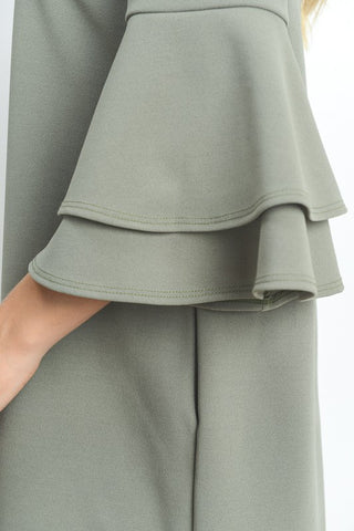 Flare Sleeve Shift Dress - Sage