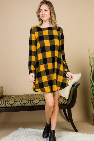 Buffalo Plaid Swing Dress - Mustard and Navy