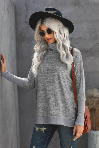 Dolman Sleeve Turtleneck Top - Gray