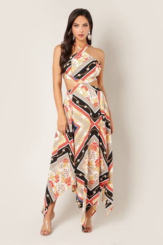 Abstract Print Maxi Dress with Cutout - Black