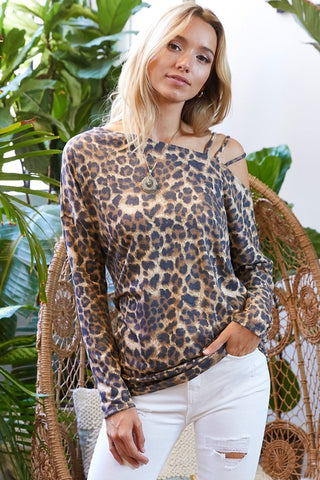 Strappy One Shoulder Cheetah Print Top