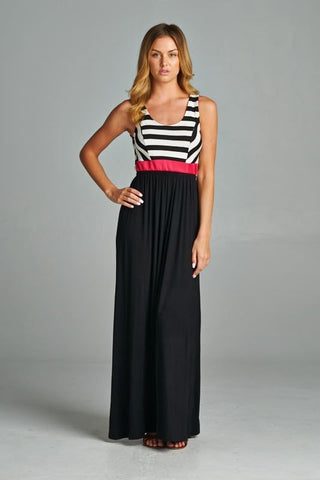 Criss Cross Back Striped Maxi - Black