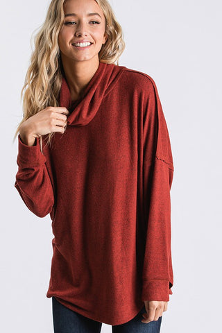 Cozy Cowl Neck Top - Brick