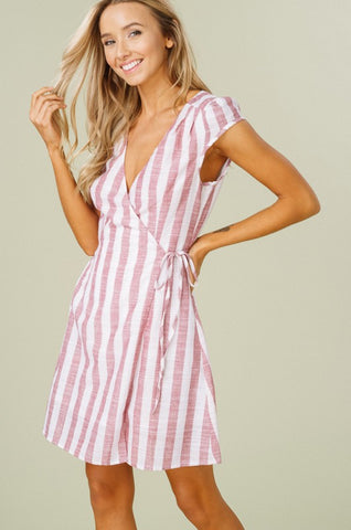 Cap Sleeve Striped Wrap Dress - Pink