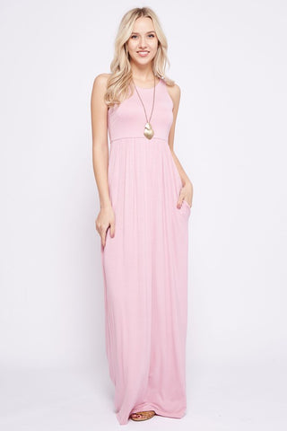 Solid Racerback Maxi Dress - Pink