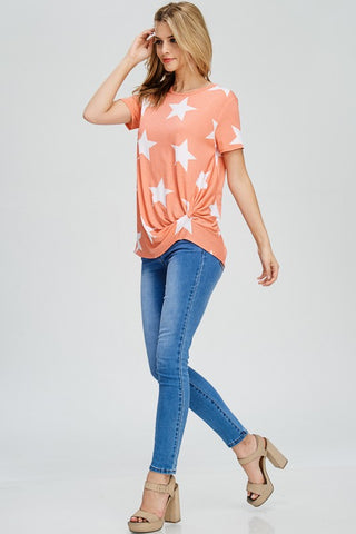 Star Print Twist Top - Coral
