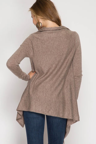 Cardigan Wrap with Fringe - Mocha