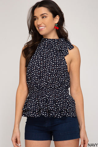 Halter Polka Dot Top - Navy