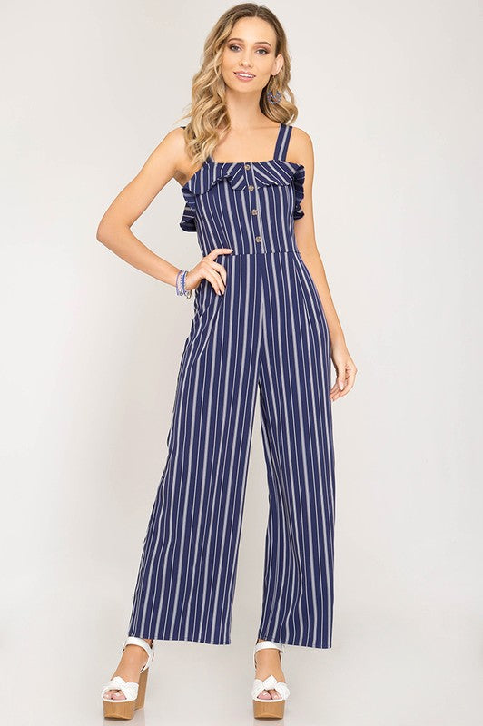 5a913099a90 Striped Jumpsuit with Buttons - Navy
