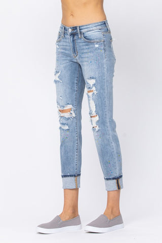 Judy Blue Rainbow Paint Splash Distressed Boyfriend Jeans