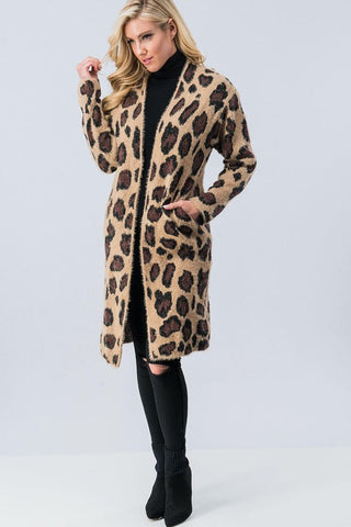 Long Leopard Print Cardigan - Brown