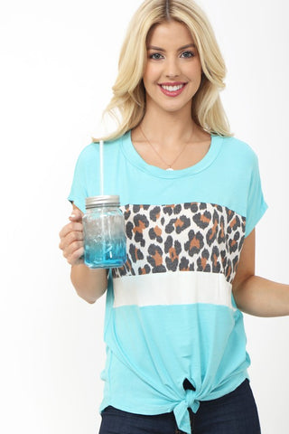 Color Block Leopard Tie Print Top - Aqua