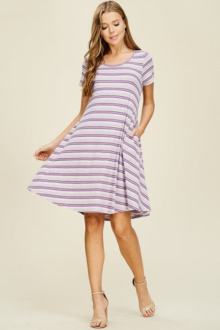 Striped Flowy Dress - Lavender