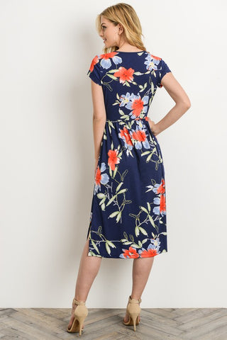 Lunch Date Midi Dress - Navy